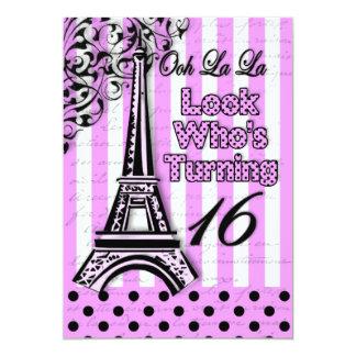 Décimo sexto aniversário - convide - francês/torre convite 12.7 x 17.78cm