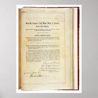 Declaração de guerra contra Alemanha o 5 de abril Posteres