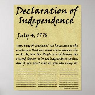 Declaração de independência condensada engraçada pôster