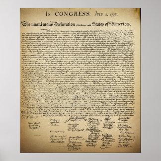 Declaração do vintage de independência pôster