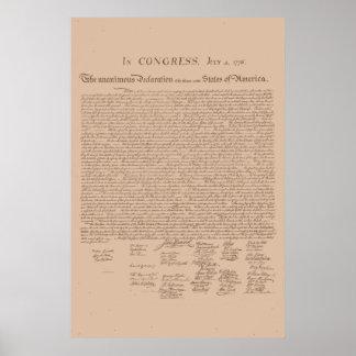 Declaração dos Estados Unidos de independência Pôster