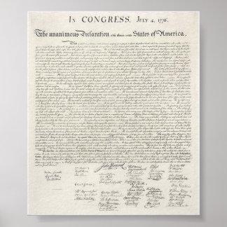 Declaração dos Estados Unidos do poster da indepen Pôster