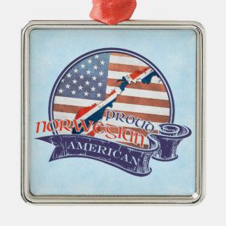 Decoração americana norueguesa orgulhosa ornamento quadrado cor prata