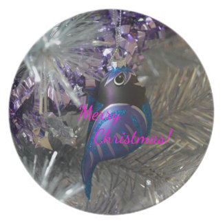 Decoração azul impressionante do pássaro do Feliz Prato De Festa