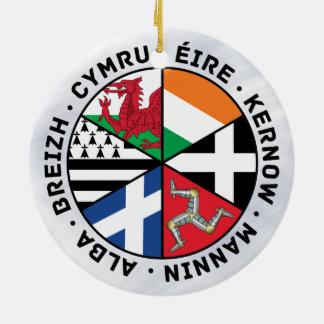 Decoração celta das bandeiras das nações ornamento de cerâmica