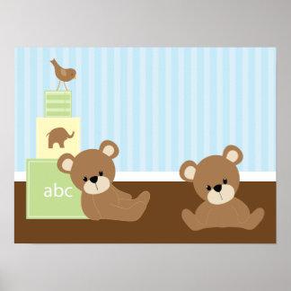 Decoração da parede dos miúdos dos ursos de Brown Pôster