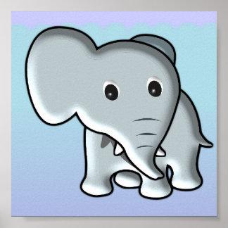 Decoração do berçário do elefante do bebê pôster
