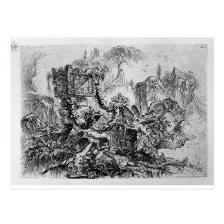 Decoração do capricho, um grupo de ruínas cartão postal