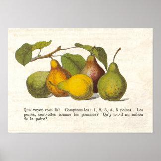 Decoração francesa da cozinha do país das peras do poster