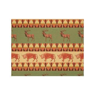 decoração nativa dos indígenas dos cervos do impressão em tela