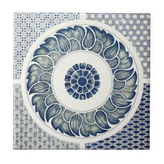 Decoração oriental azul FloralPattern do vintage Azulejo