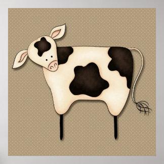 Decoração primitiva da vaca do país posters
