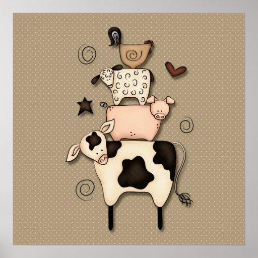 Decoração primitiva da vaca, dos carneiros, do por posters