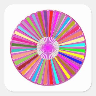 Decorações coloridas de Chakra da roda FLORAL Adesivo Quadrado