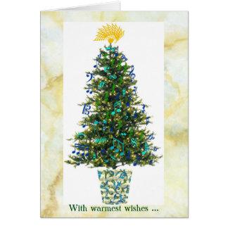 Decorações do símbolo de música na árvore de Natal Cartão Comemorativo