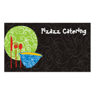 Decorative plate bowl utensils chef catering bu... business card template