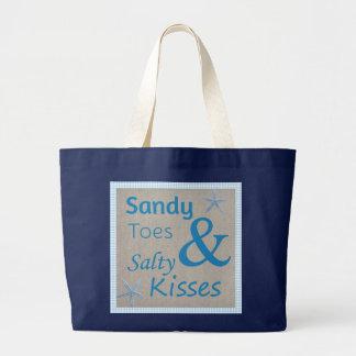 Dedos do pé de Sandy e citações salgados da vida Bolsa Tote Grande