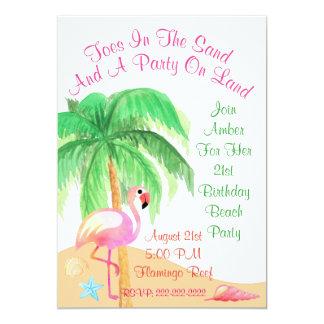 Dedos do pé no convite de festas do flamingo da