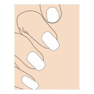 Dedos fêmeas com manicure francês cartão postal