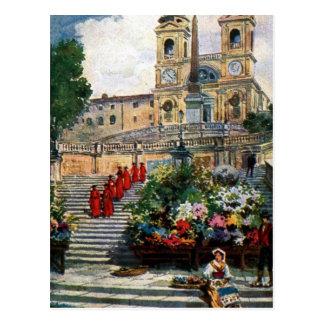 Dei Monti de Trinita da aguarela de Roma do Cartão Postal
