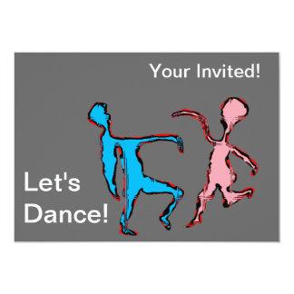 """""""deixa texto da dança"""" e dançarinos cor-de-rosa & convite 12.7 x 17.78cm"""