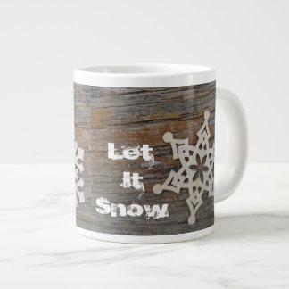 Deixais lhe para nevar caneca com imagem do floco