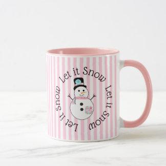 Deixais lhe para nevar caneca de café cor-de-rosa