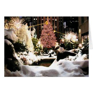 Deixais lhe para nevar cartão Center da árvore de
