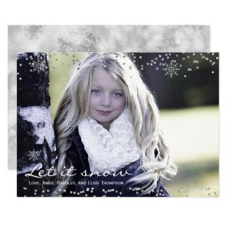 Deixais lhe para nevar cartão com fotos do costume