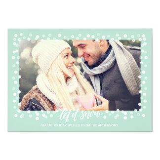 Deixais lhe para nevar cartão com fotos moderno do convite 12.7 x 17.78cm