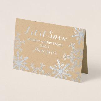 Deixais lhe para nevar cartão de Natal dos flocos