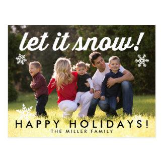 Deixais lhe para nevar cartão do cartão do feriado