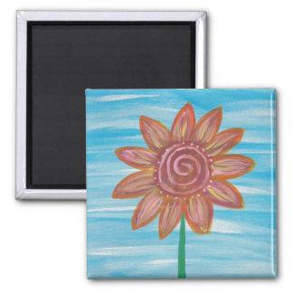 Deixais lhe seja pintura original da flor do Hippi Ímã Quadrado
