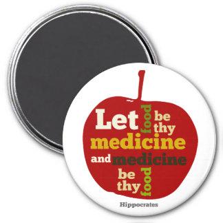 Deixe a comida ser thy medicina… Hippocrates Ímã Redondo 7.62cm