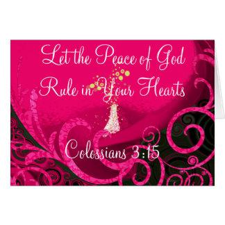 Deixe a paz do deus ordenar em seus corações cartão