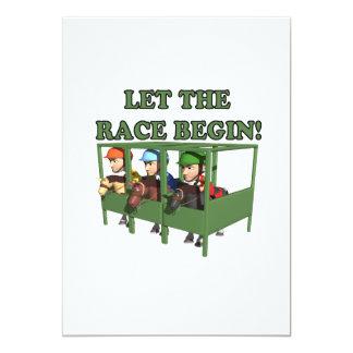 Deixe a raça começar convite 12.7 x 17.78cm