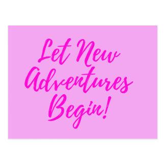 Deixe aventuras novas começar - rosa - o cartão