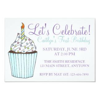Deixe-nos comemorar convites do bolo do cupcake do