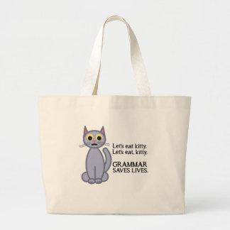Deixe-nos comer o gatinho sacola tote jumbo