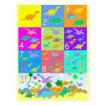 Deixe-nos contar com números 1 10 dos dinossauros cartões postais
