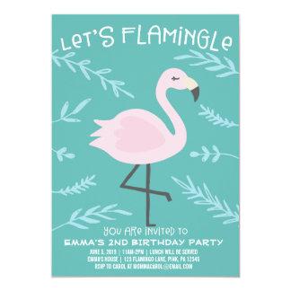 Deixe-nos convite bonito do Pastel do flamingo de