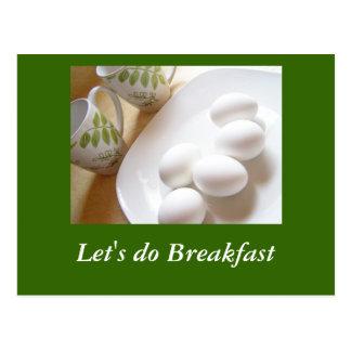 Deixe-nos fazer o pequeno almoço cartoes postais