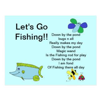 Deixe-nos ir pescar o cartão com poema