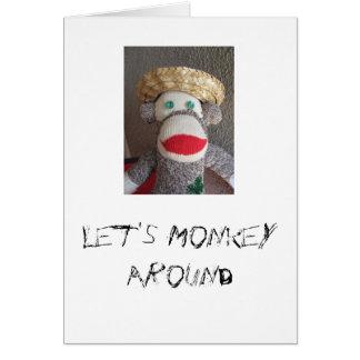 Deixe-nos monkey ao redor o cartão do macaco da