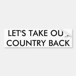 Deixe-nos retirar nosso país adesivo para carro