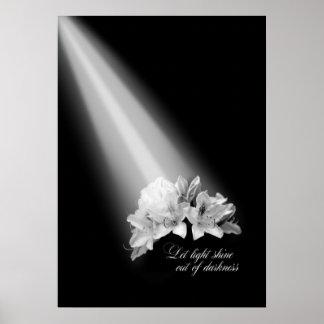 Deixe o brilho claro fora da escuridão preto e pôster