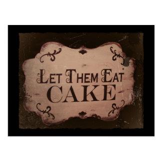 """""""Deixe-os comer bolos Cartoes Postais"""