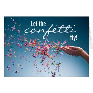 Deixe os confetes voar o cartão de aniversário