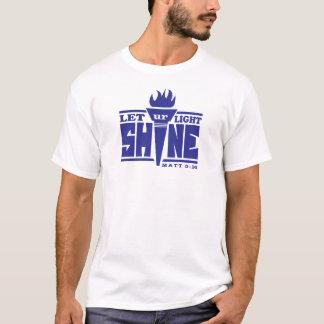 Deixe seu branco claro do t-shirt do brilho camiseta