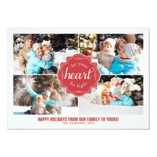 Deixe seu coração ser cartão com fotos leve do convite 12.7 x 17.78cm